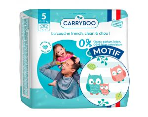 CARRYBOO Couches Ecologiques Dermo-sensitives T5 - 12 à 25Kg - 21 couches Mariachi