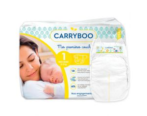 CARRYBOO Couches Ecologiques Dermo-sensitives T1 - 2 à  5Kg - 27 couches Blanc
