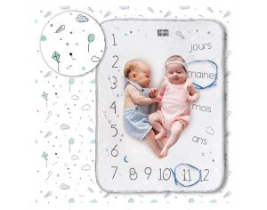 SNAP THE MOMENT Couverture 2 en 1 Photobooth 100% Coton - Minty white