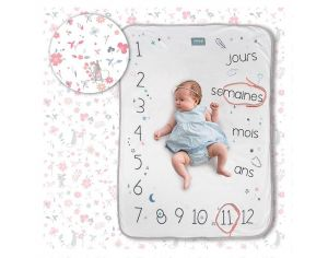SNAP THE MOMENT Couverture 2 en 1 Photobooth 100% Coton - Rosy White