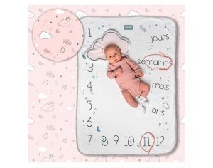SNAP THE MOMENT Couverture 2 en 1 Photobooth 100% coton - Dusty pink