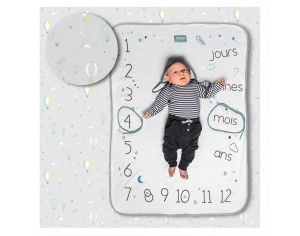 SNAP THE MOMENT Couverture 2 en 1 Photobooth 100% Coton - Pastel Grey