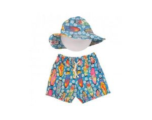 MAYOPARASOL Ensemble Short de Bain et Chapeau Anti UV - Bora Bora