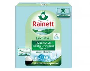 RAINETT Tablettes Lave-Vaisselle au Bicarbonate - 30 Tablettes