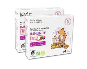 LA FABRIQUE DES MAMANS Lot 2x4 Barres Gourmandes Immunité Fruits Rouges