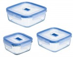 LUMINARC Pure Box - Contenants Alimentaires Carr�s en Verre - Set de 3