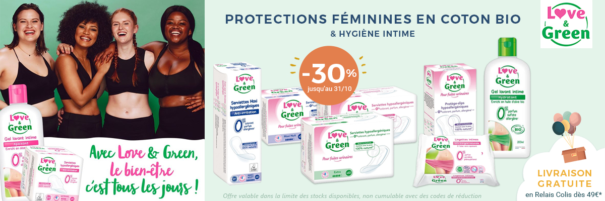 LOVE & GREEN Protections féminines -30%