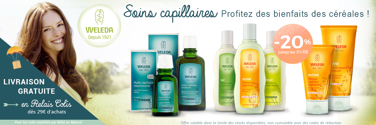 WELEDA Cosm�tiques biologiques promotion soins capillaires shampoing bio -20%