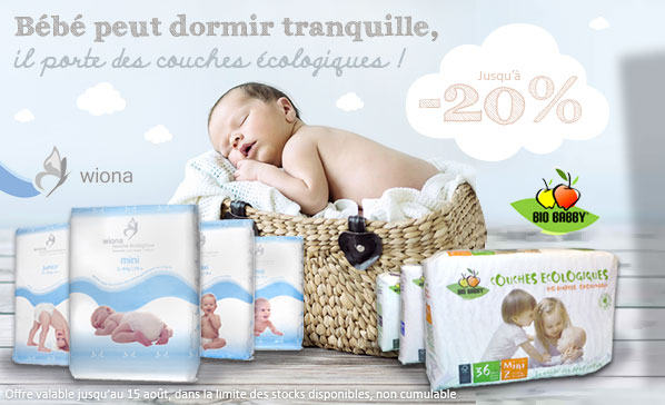 WIONA BIOBABBY Offre Couches jetables �cologiques pour b�b� bio r�duction